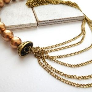 Jewelry - Gold Copper Bead Layered Multi-Chain Necklace